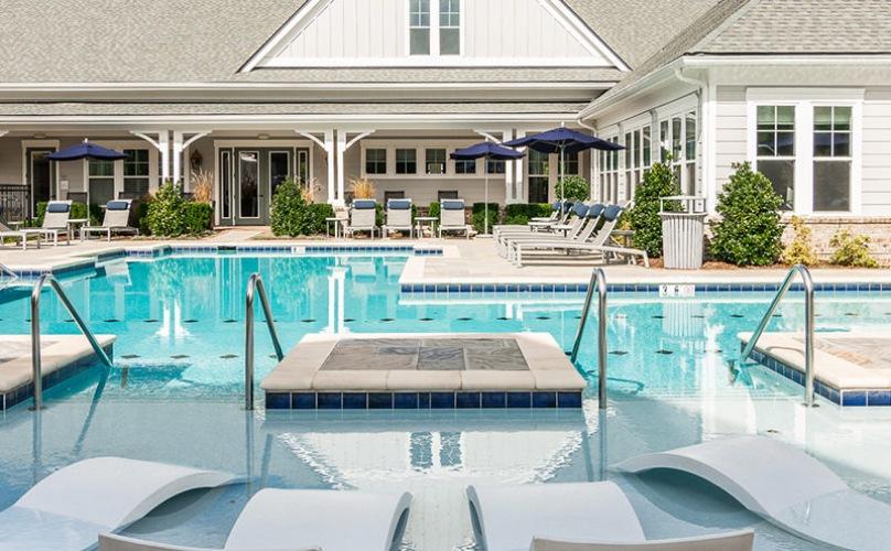 Award-winning saltwater pool with a sun shelf